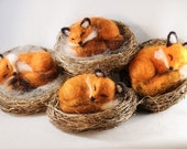 Needle felted sleeping fox, fox kits, felted animal, fox sculptures