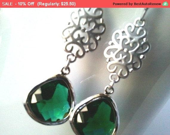 Oriental Emerald Silver Earrings, Drop Earrings, Dangle Earrings, bridal earrings,Wedding jewelry,flower girl,Christmas Earrings