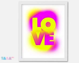 Fluor yellow and fuchsia poster, Love Graffiti Spray, Typography design, Printable Wall Art, Digital Print, children Decor, Instant Download