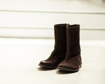 SALE 40% OFF Leather boots , Women Brown boots , mid stitch boots , Mediume hight boots , winter boots , back zipper boots