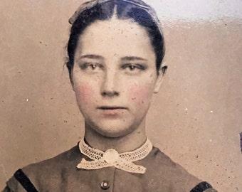 Exquisitely Beautiful Girl Antique Victorian Tintype Photo