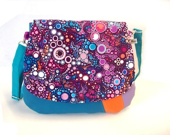 crossbody bag duck blue and purple with dots , handbag in faux leather with effervescence fabric flap , crossbody purse bubbles fabric flap