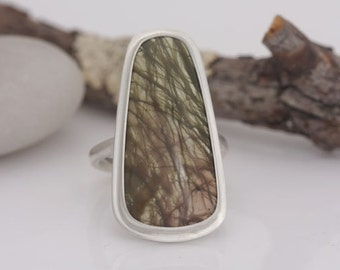 Imperial jasper and sterling silver ring, size 8, ready to ship, #644.