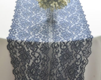 """Navy Lace Table Runner 14"""" wide  choose between 3FT -15FT/Cut lace not hemmed/Navy Wedding/Reception/Blue lace runner, free swatch/low stock"""