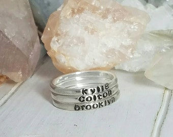 3 Sterling Silver Name Rings, 2mm, Stackable Name Ring,  Personalized Name Rings, thin stacking rings, Custom name ring, Custom Mothers ring