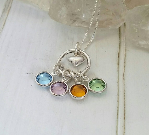 Sterling silver, Personalized Grandmother necklace, Nana Necklace, Birthstone Necklace,  Birthstone Jewelry, Mothers necklace, 4 birthstones