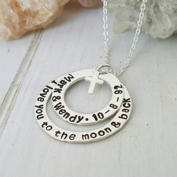 Mother, Grandmother, Nana Personalized Name Necklace, Sterling Silver, Two Layer, Custom Made, Family Necklace on Washer w/ Cross or Heart