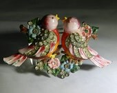 ON hold for LISA NZ Antique Coro Enamel & Rhinestone lovebirds Duettes dress fur clip  brooch hallmarked