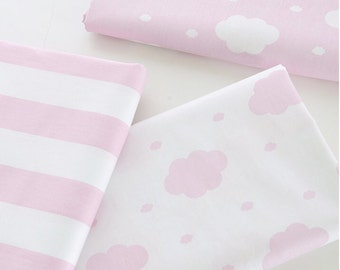"""Cloud Cotton Fabric, Pink White Cloud Stripes Fabric, 63"""" Width Wide- 1/2 Yard"""