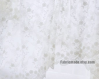 White Embroidered Lace Fabric, Netting Tulle Fabric Cotton Flower Cotton Embroidery Fabric-  1/2 yard Lace