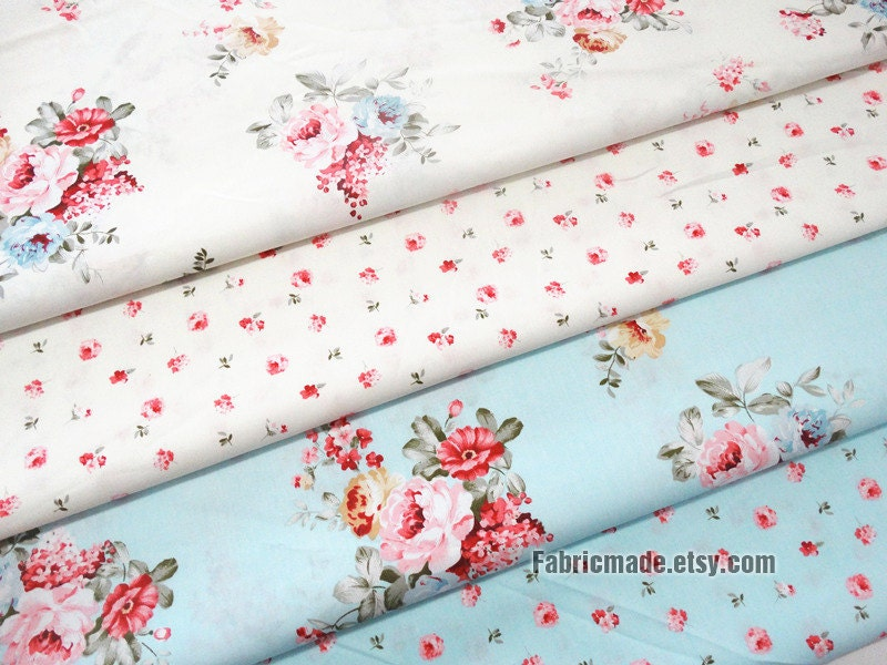 Sale floral fabric cotton fabric shabby chic little pink for Tissu shabby chic