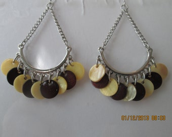 Silver Tone Chain Chandelier Earrings with Yellow and Brown Mother of Pearl bead Dangles
