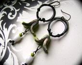 assemblage earrings, mixed media earrings, rustic tribal, lime green white, ScorchedEarth, unique ooak, wire hoop earrings, AnvilArtifacts