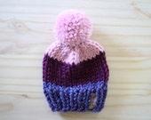 Color Block Beanie // Chunky Knit Hat // Customizable // Slouchy Beanie // Pom Pom // Cozy // Newborn // Baby // Toddler // Child