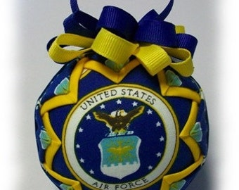 Quilted Ornament US Air Force FormaI Handmade Keepsake Ornament
