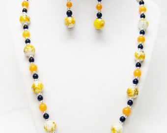 Orange/Yellow w/White Black Spatter Round Glass Bead Necklace & Earrings Set