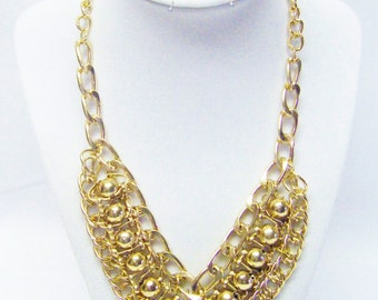 """Gold Plated Chain & Ball Drops on 18"""" Gold Plated Chain Necklace"""