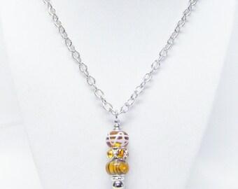 Amber Mix Big Hole Bead Pendant Necklace