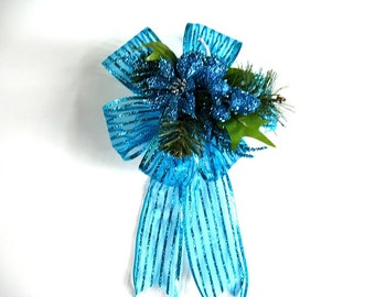 Holiday tree bow, Large bow for Christmas wreaths, Turquoise glitter gift bow, Unique Christmas gift bow, Holiday decoration (C501)