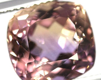 natural ametrine 6.63 carat cushion purple gold Gemstone Bolivia