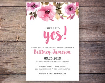 She Said Yes! Bridal Shower Invitation, She said yes Invitation, Wedding Shower Invites, Pink Watercolor Flowers - Brittney