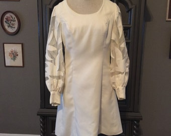 60s Sheer Appliqué Puff Sleeve Dress by Mardi Gras