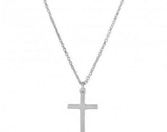 Sterling Silver Rhodium Plated Cross Pendant With Chain #3