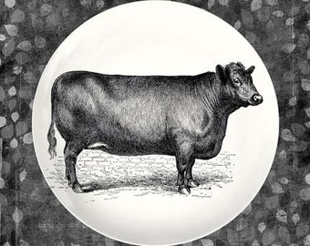 black cow melamine plate