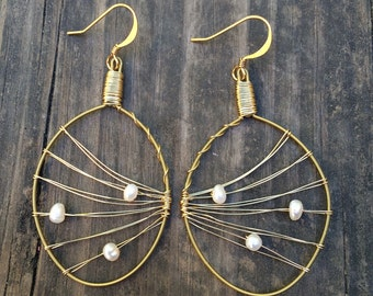 """Recycled Guitar String Earrings- """"Tidal Waves""""- Made With Freshwater Pearls"""