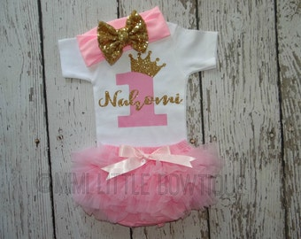 Personalized First Birthday outfit- Pink and gold 1st birthday outfit- Birthday Outfit- Pink and gold Birthday Outfit-cake smash
