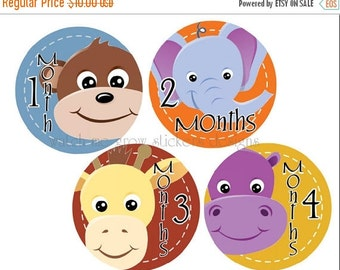 Sale Baby Month Stickers Month Stickers Monthly Stickers Baby Milestone Stickers Baby Shower Gift Milestone Stickers for Boys Animals