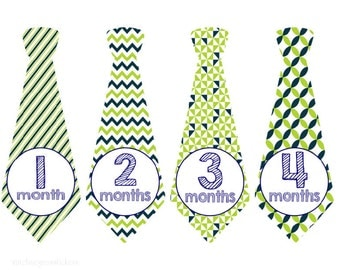 Precut Monthly Baby Tie Stickers Boys Monthly Stickers Milestone Stickers Baby Month Stickers Monthly Stickers