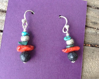 Red Coral Lava Turquoise Dangle Earrings,Hill Tribe Silver OM beads,Turquoise Chips,Malachite,Small Earrings,Rustic,Tribal,Southwestern