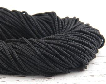Black, Heishi Afghan Stone Beads, Handcut, 1 strand - 13 inches, 2-2,5 mm // BD-015