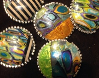 5 Hollow Polymer Clay Focal Beads, Mica Shift and Retro Patterns, 4 x 4cm