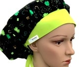 Bouffant Scrub Hat with ties - St Patrick Day bouffant - Clover Leaf bouffant - Clover Horseshoes Bouffant scrub hat - Ponytail Scrub hat