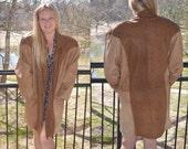 Women's Winter Coat, Leather Coat, Brown Vintage Coat, Ladies' 80's Coat, Women's Coat, Leather Jacket, Size Large, Size L