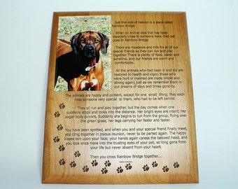 Rainbow Bridge Poem Plaque with 5 x7 picture holder In loving memory of lost Pet