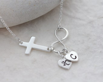 Cross Infinity Necklace. Silver Sideways Cross Necklace. Personalised Silver Infinity Custom charms. Bridal shower gift,  Customized Jewelry