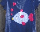 SALE Kiss Me Fish  Girls T shirt Valentine Ready To Ship in XS 4/5