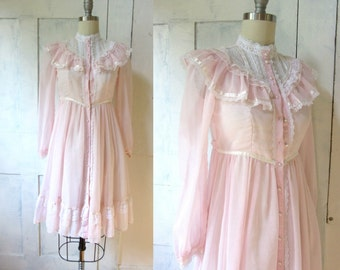 70s Gunne Sax Pink Dress - Prairie - Lace - High Neck - XS - Sheer Fabric - Jeunes Filles by Jessica - young woman or girl - Long Sleeves