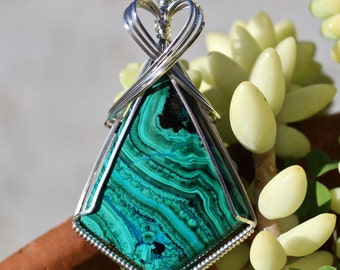 Chrysocolla Malachite Azurite Stone Pendant,, Sterling Silver Wire Wrapped Pendant Handmade Turquoise Green Stone Jewelry Necklace