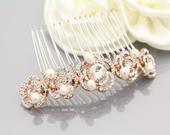 Rose gold Wedding hair accessory Rose gold bridal hair comb Rose gold Wedding hair piece Bridal hair accessory Wedding hair comb Rose gold