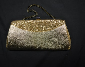 Vintage 1970's Gold Clutch, Gold Chain Handle