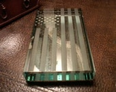 Glass Flag Paperweight