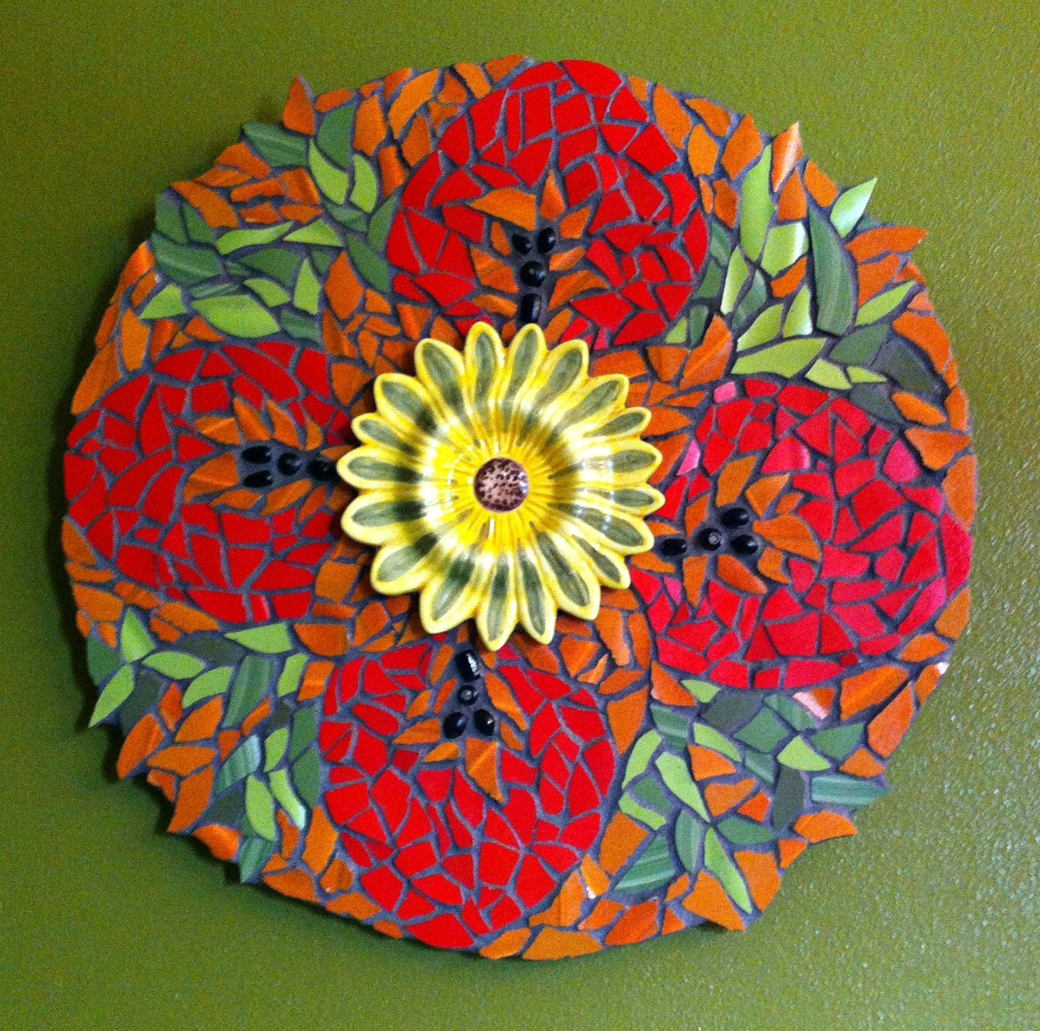 Garden Sunflower Wall Decor : Sunflower mosaic garden wall hanging pique assiette