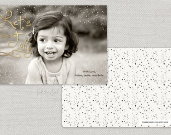 Holiday Photo Card.  Let's be Jolly.  Confetti.  Printable.