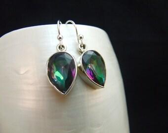 Drop Earrings, Mystic Topaz Sterling Silver Dangle Earrings