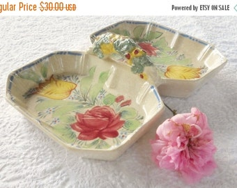 On Sale Vintage Shabby Chic/Cottage Style Divided Dish