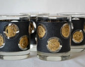 S/4 Black and Gold Lowball Rocks Coin Glasses ca. 1960's